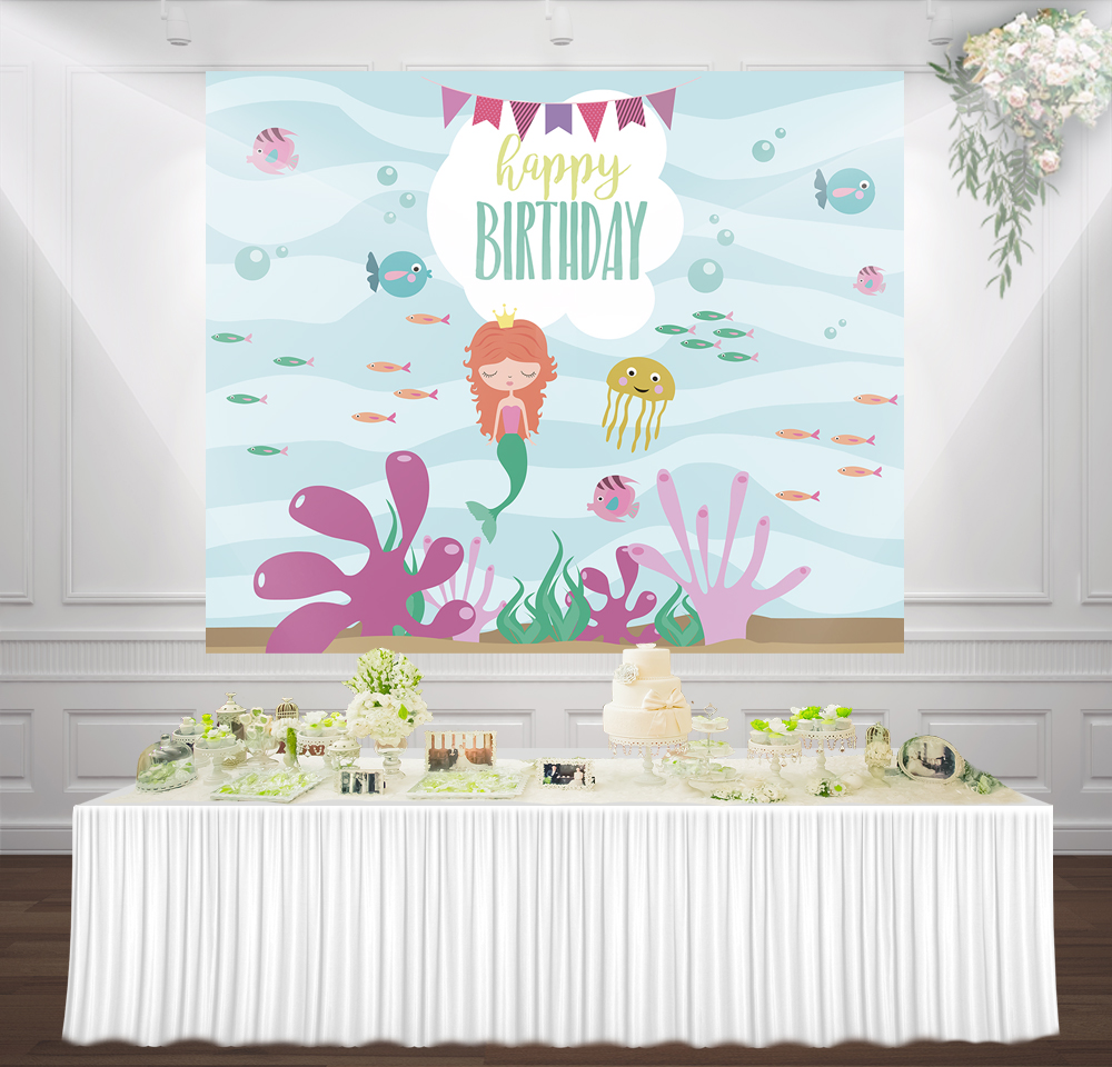 Little Mermaid Birthday Party girl princess backdrop Photo photocall background cute cartoon Turquoise under the sea backdrops