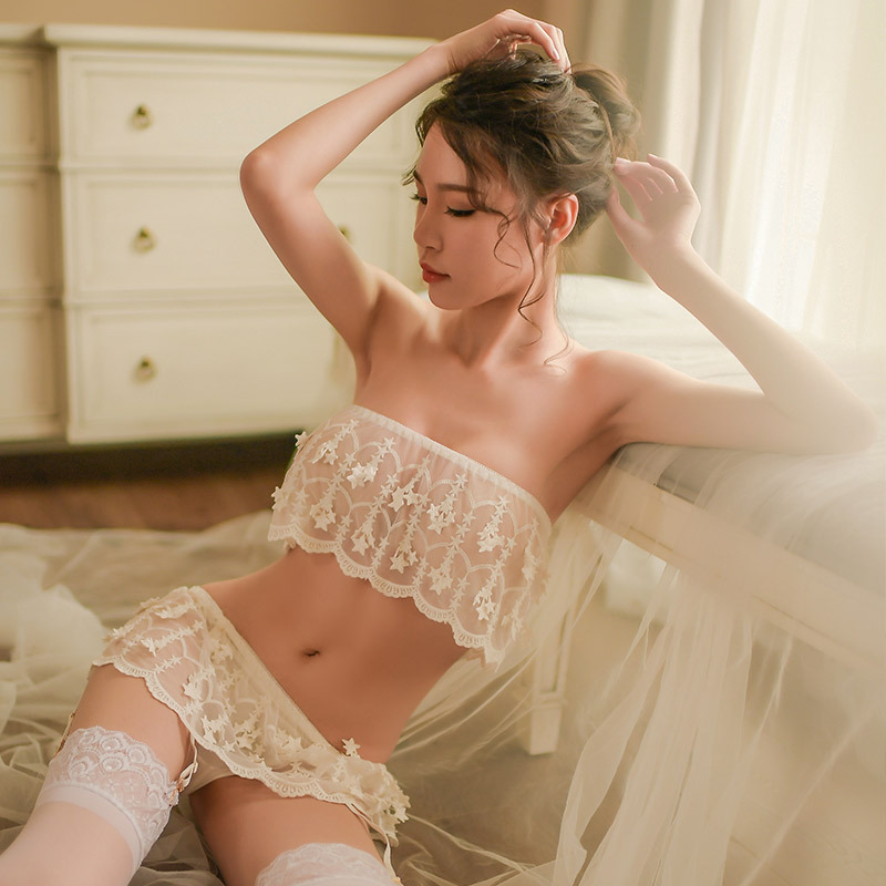 Lisacmvpnel Sexy Lace Women   Pajama     Set   3 Pcs Tube top+G-String+Sock   Set   Female Summer   Pajamas