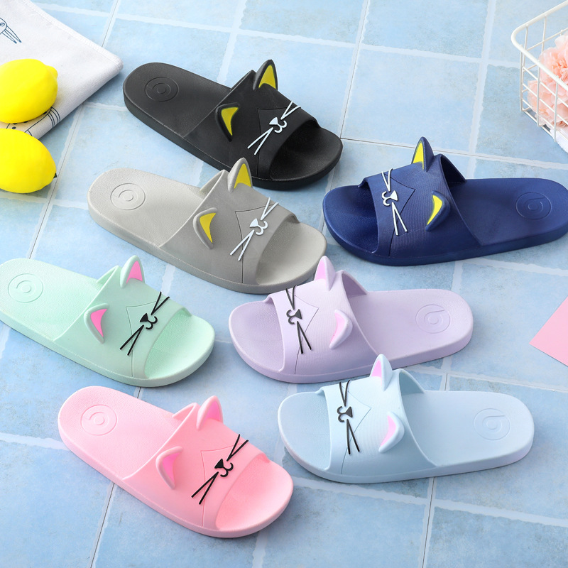 Summer Children Slippers For Boys Girls Family Parent Bathroom Home Anti-Slip Shoe Large Medium Baby Children Cool Cat Slipper