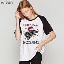 Игра престолов Рождественская футболка Для женщин ulzzang смешные футболки Femme в стиле хип-хоп хлопковая брендовая одежда футболка Свободные повседневные топы тройники