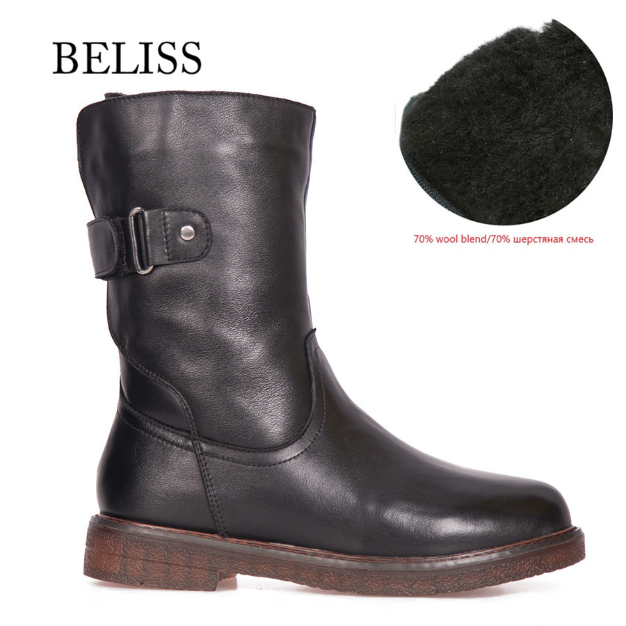 BELISS warm boots winter fur mid calf cow genuine leather 2018 casual comfortable flats boot for