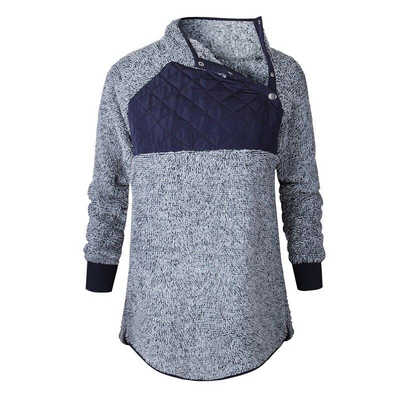 ELSVIOS Women Flannel Sweatshirt Autumn Winter Long Sleeve Preppy Style Girls Thicken Patchwork Pullover Tops Warm Sweatshit