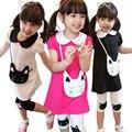 Дети костюмы 2014 новая мода весна Одежда Наборы с длинными рукавами печатных Футболки и Цветы рисунком поножи девушки костюм