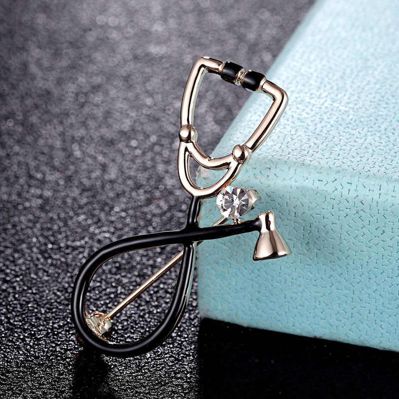 Zlxgirl Stetoskop Bentuk Bros Kristal Mengkilap Enamel Pin Pria Perhiasan Emas Warna Jilbab Syal Aksesoris Punk Topi dan Tas Pin