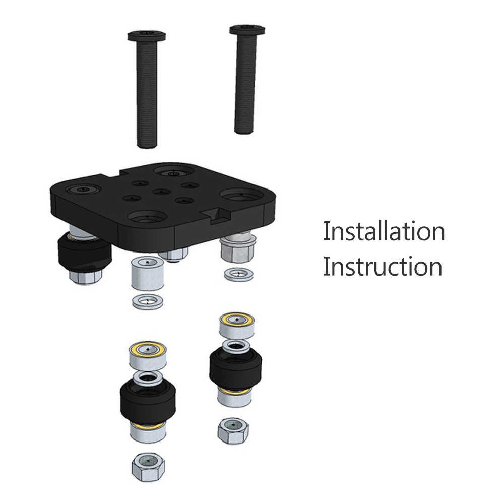 V Mini Gantry Rod Piring dengan Roda untuk V-Slot Aluminium Profil 3D Printer Aksesoris Bagian Set untuk CNC kossel NEMA 23