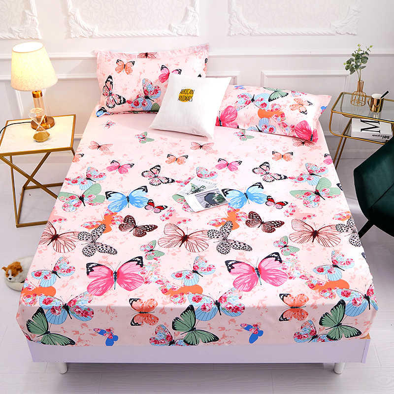 2019 New Product 1pcs 100% polyester printing  fitted sheet with four corners and elastic band sheets hot sale