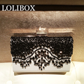 LOLIBOX black and white embroidered ladies evening clutch bags bride wedding party hand Crossbody Bag for women