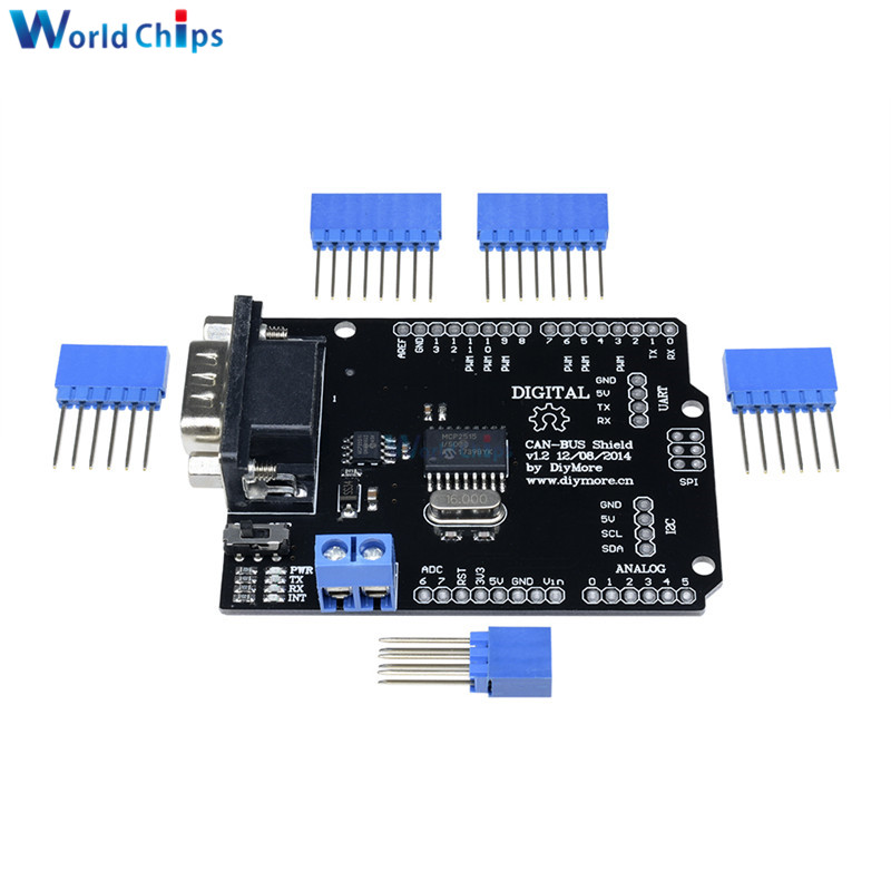 US $4 06 19% OFF|1Set MCP2515 Can Bus Shield Board SPI Interface 9 Pins  Standard Sub D Connector Expansion Module DC 5 12V For Arduino Seeeduino-in