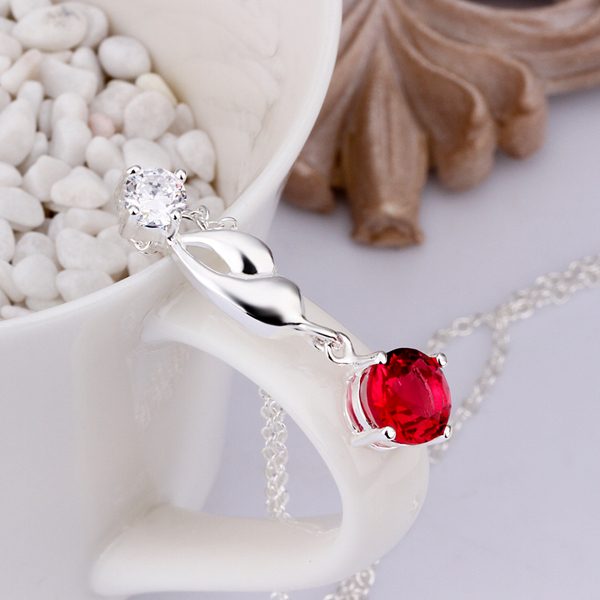 925 sterling silver jewelry long leafage link red round stone crystal pendant long necklace for women girls fine jewerly CN367