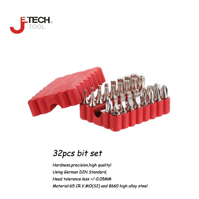 Jetech 32 db 25 mm-es 1/4 hüvelykes precíziós csavarhúzóval válogatott több bites illesztőprogram-bitkészlet adapterrel, fali szerszámmal