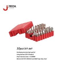 Jetech 32 pcs 25mm 1/4 inch hex torque precision screwdriver assorted multi-bit driver bit kit with adapter wood wall tool