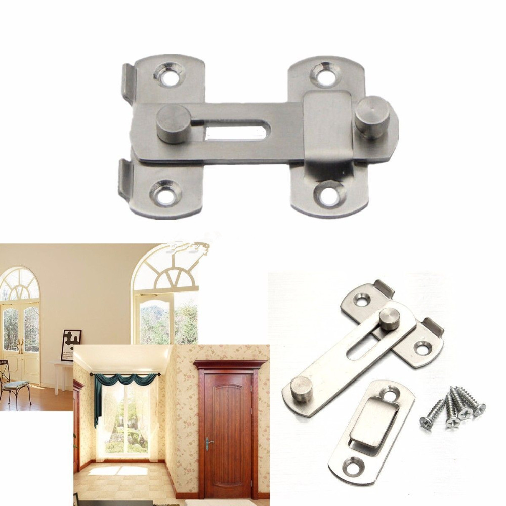 New Stainless Steel Home Safety Gate Door Bolt Latch Slide Lock Hardware +Screw(China