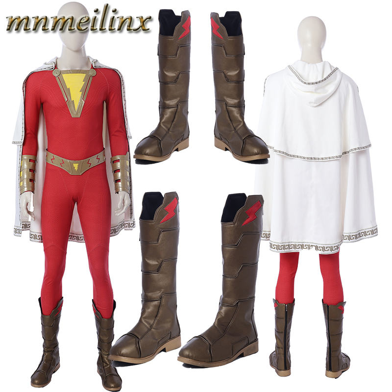 2019 Popular Movie Shazam Cosplay Costume Captain Marvel Shazam Halloween Costume Custom Made Full Set Unisex High Quality Suit