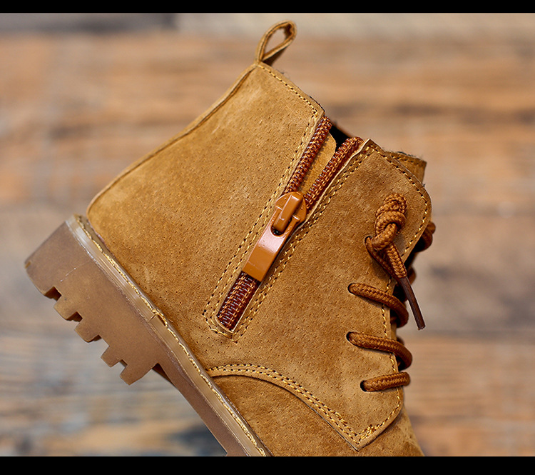 Image 5 - Winter Boys Girls Boots Genuine Leather Anti suede Martin Boots Side Zipper Retro Warm Cotton Boots-in Boots from Mother & Kids