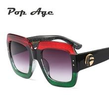Pop Age 2018 Newest Oversized Square Sunglasses Women Men Luxury Italy Brand Designer Sun Glasses For Female Male Retro Lunettes