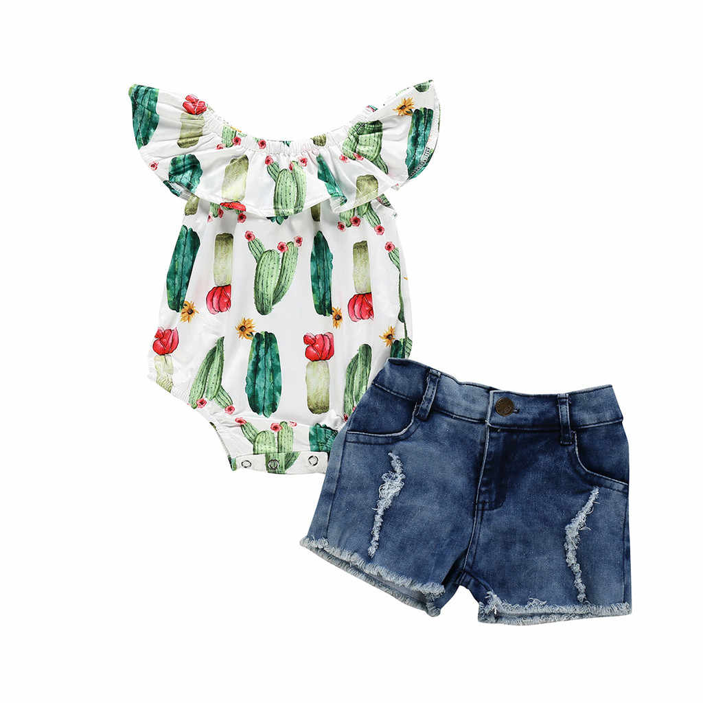 Toddler Kid Baby Girls Sleeveless Cactus Prints Romper Denim Shorts 2Piece Sets toddler Outfits Child Clothes 1-4 Years birthday