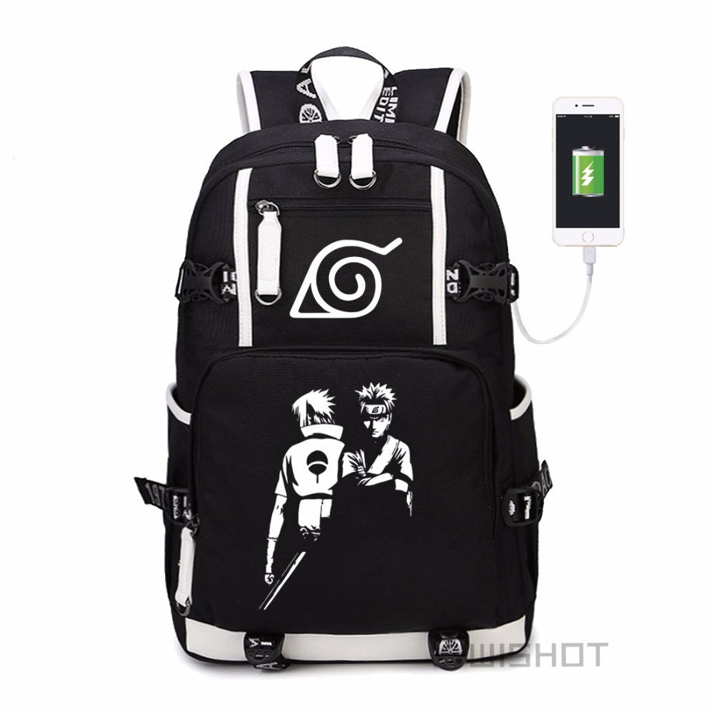 WISHOT Naruto Sasuke Sharingan LOGO Akatsuki Red Cloud Backpack Shoulder travel School Bag with USB Charging