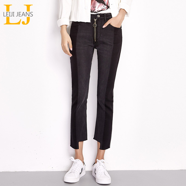 41607f4bb1f LEIJIJEANS Autumn High Street Black Panelled Spliced Mid Waist Ankle Length  Fake Zipper Plus Size Loose Straigh Jeans Women 6038
