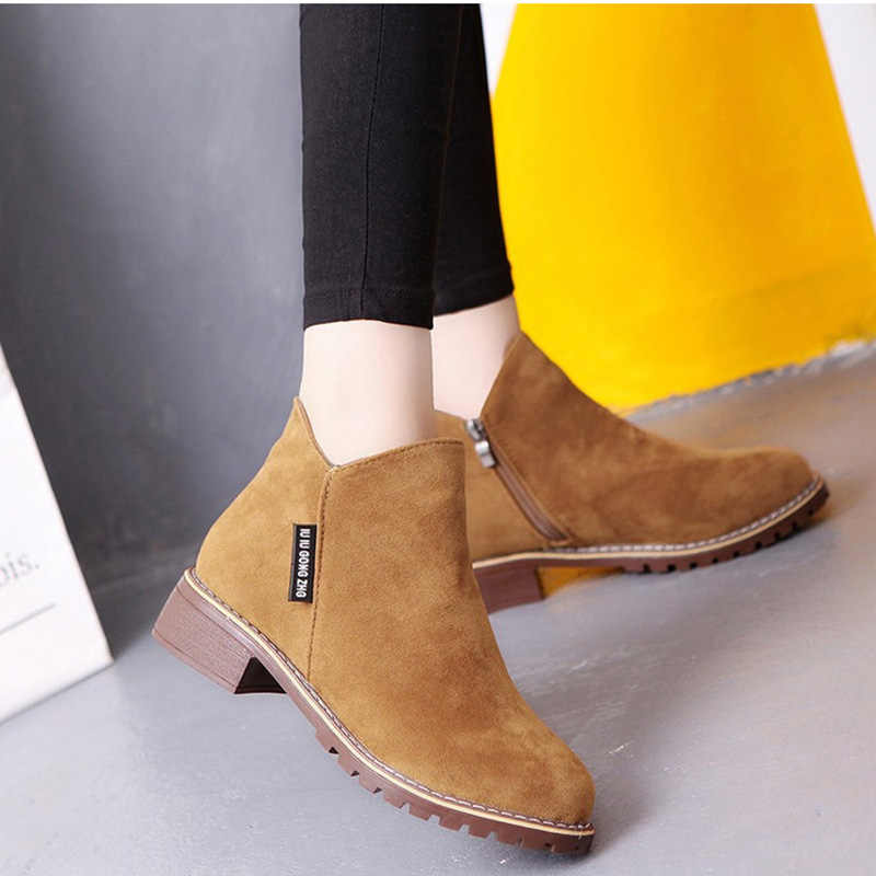 Faux Suede Ankle Boots Female Autumn Women Boots Side Zipper Low Heels Casual Safety Shoes Black Booties Woman 2018 Ankle Boots