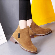 Faux Suede Ankle Boots Female Autumn Women Boots Side Zipper Low Heels Casual Safety Shoes Black Booties Woman 2018 Ankle Boots suede faux fur low heel ankle boots
