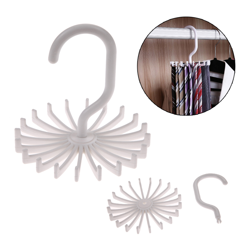 Hot Sales High Quality White Plastic Tie Rack Rotating Hook Tie Holder 1 Piece Holds 20 Ties/Belts/Scarves Hanger HG0185