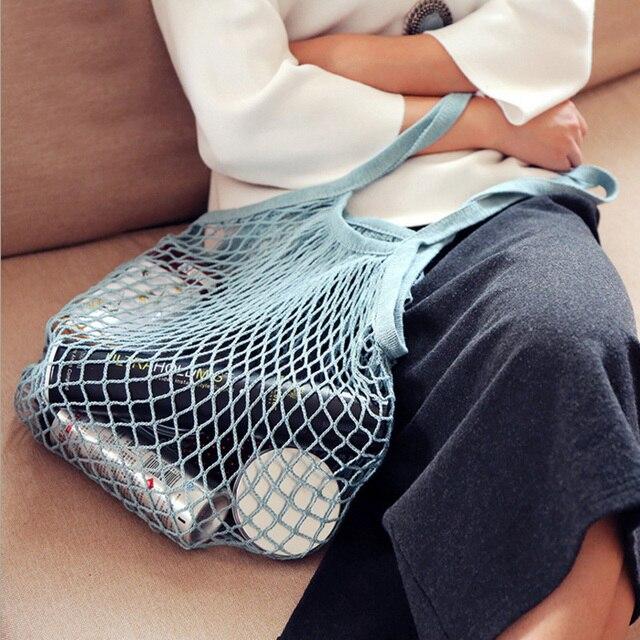 Модные женские многоразовые строка shopping Бакалея сумка Молодежные Shopper Tote сеточку тканые хлопок сумка ручной сумки