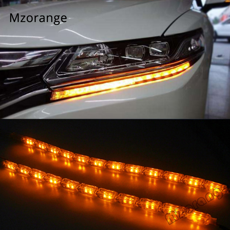 2x Car Flexible White/Amber Switchback LED Knight Rider Strip Lights for <font><b>Headlight</b></font> Sequential Flasher Dual DRL Color Turn Signal image