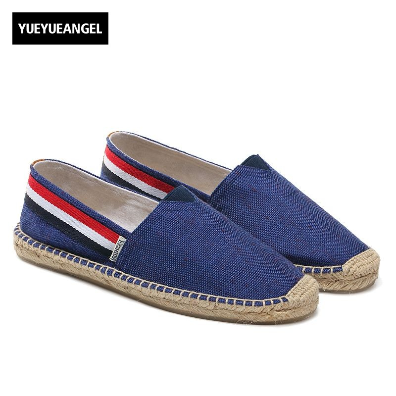 Hot Sale Autumn Men Shoes Breathable Slip On For Men Casual Canvas Shoes Flats Rero British Driving Loafers Red Yellow Blue