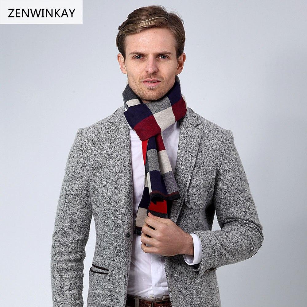 2017 invierno bufanda de tela escocesa lana marca hombre bufanda de  Cachemira borla pashmina hombres Bufandas otoño caliente urdimbre 180 33 cm  en Los ... ef6b5ba66a3