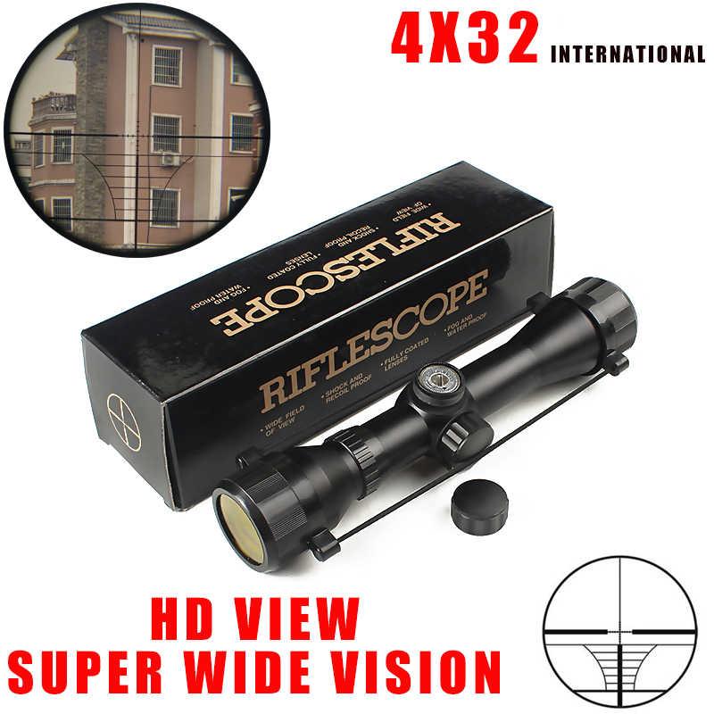Nuevo Producto, Envío Gratis, Rifle óptico táctico 4X32, mira de francotirador, mira compacta de Rifle, miras de caza con 20mm/11mm, soportes de riel