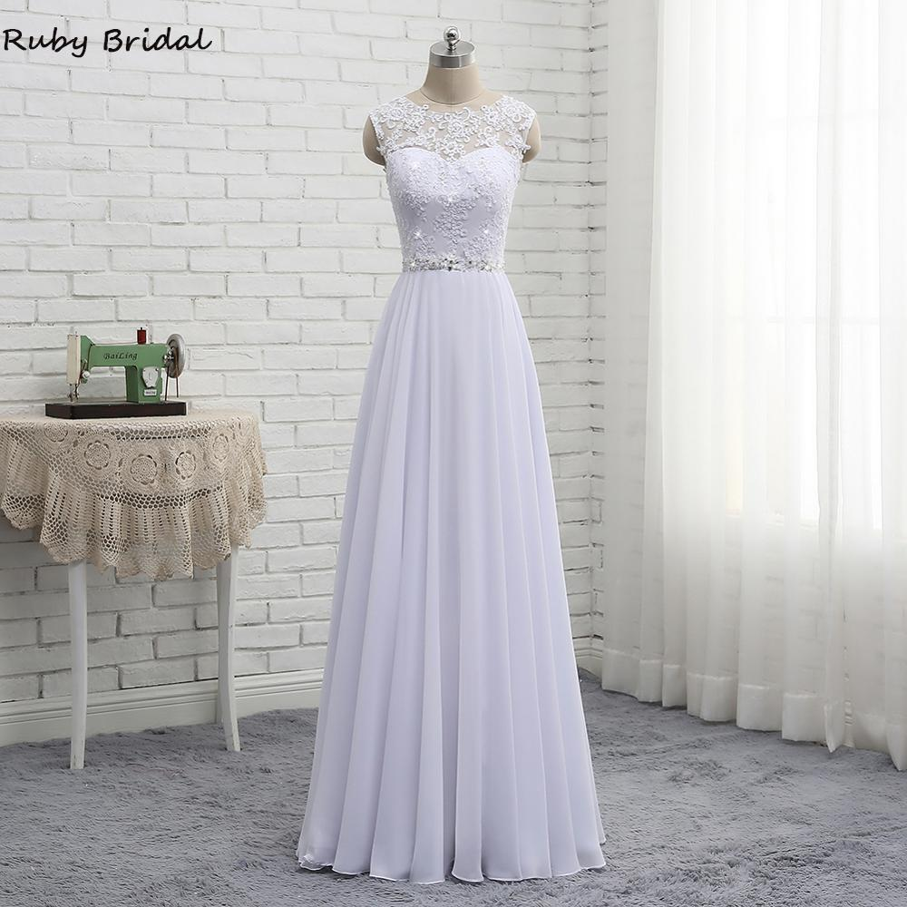 2019 New Arrival Long Vestidos De Noiva A-line White Chiffon Lace Wedding Dresses Free Shipping Beach Wedding Party Gown PW911