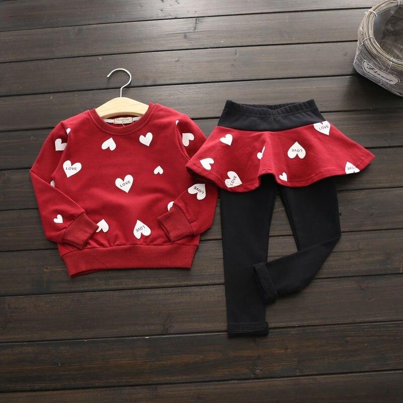 2 piezas otoño invierno Niño niño niña Top + Pantalones ropa Set 2-7Y Venta caliente