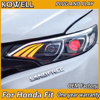 KOWELL faros delanteros de diseño para coche 2014 2015 2016 2017 para Honda Fit faro DRL lente de doble haz de xenón de estilo de barra Led Benz