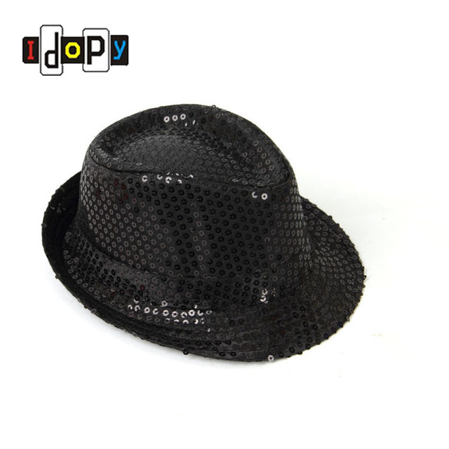 2d5421839 US $6.39 |Cool Unisex Adults Kids Sequin Fedora Hat Trilby Hiphop Jazz  Dancing Party Stage Performance Cap For Adults and Children-in Fedoras from  ...