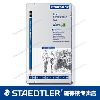 12PCS [Top Quality] Deutsche STAEDTLER 100 G12 S Blue Stick Professional Drawing Pencil Sketch Pencil  Set Irox Box