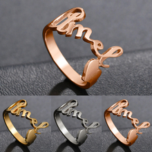 Stainless Steel Rings For Women DIY Initial Alphabet Heart Ring Engagement Wedding Engraved Ring Men Gold Ring Love Jewelry delicate engraved faux gem jewelry ring for men