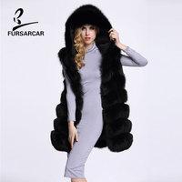 FURSARCAR Winter Natrual Real Fur Vest Female Genuine Fox Fur Gilet With Hood Fashion Thick Warm Winter Thick Warm Fox Fur Vest