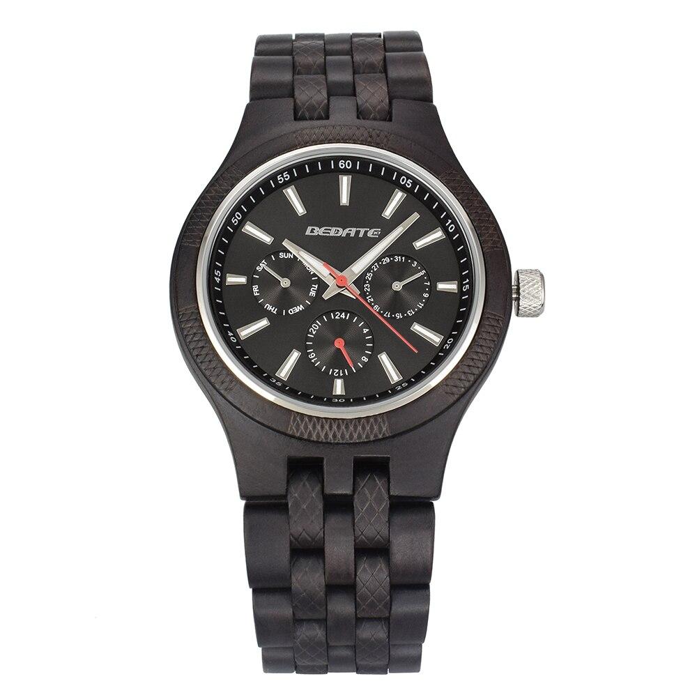 Unique hommes montres 2018 marque de luxe en bois montre étanche Quartz Sport chronographe en bois homme horloge montre homme cadeau boîte 143a - 5