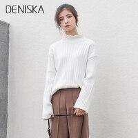 DENISKA 2017 NEW White Turtleneck Sweater Female Half Small Fresh Winter Jacket Slim Tight Long Sleeved