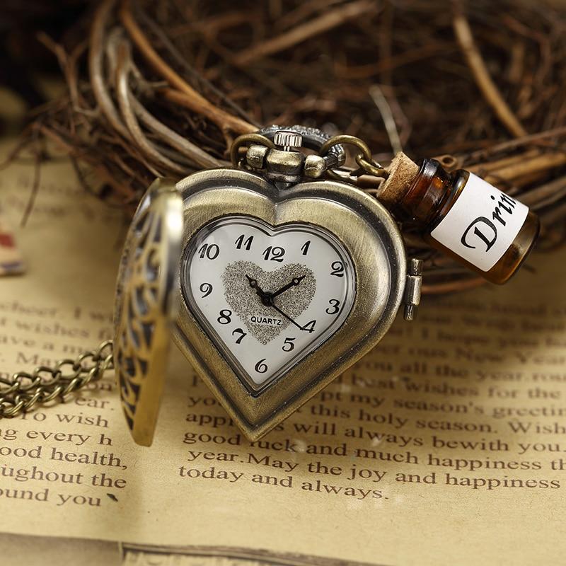 Parfüm Şişesi Cep Saati Hollow Kalp Çiçek Kabartmalı Bronz - Cep Saatleri - Fotoğraf 2