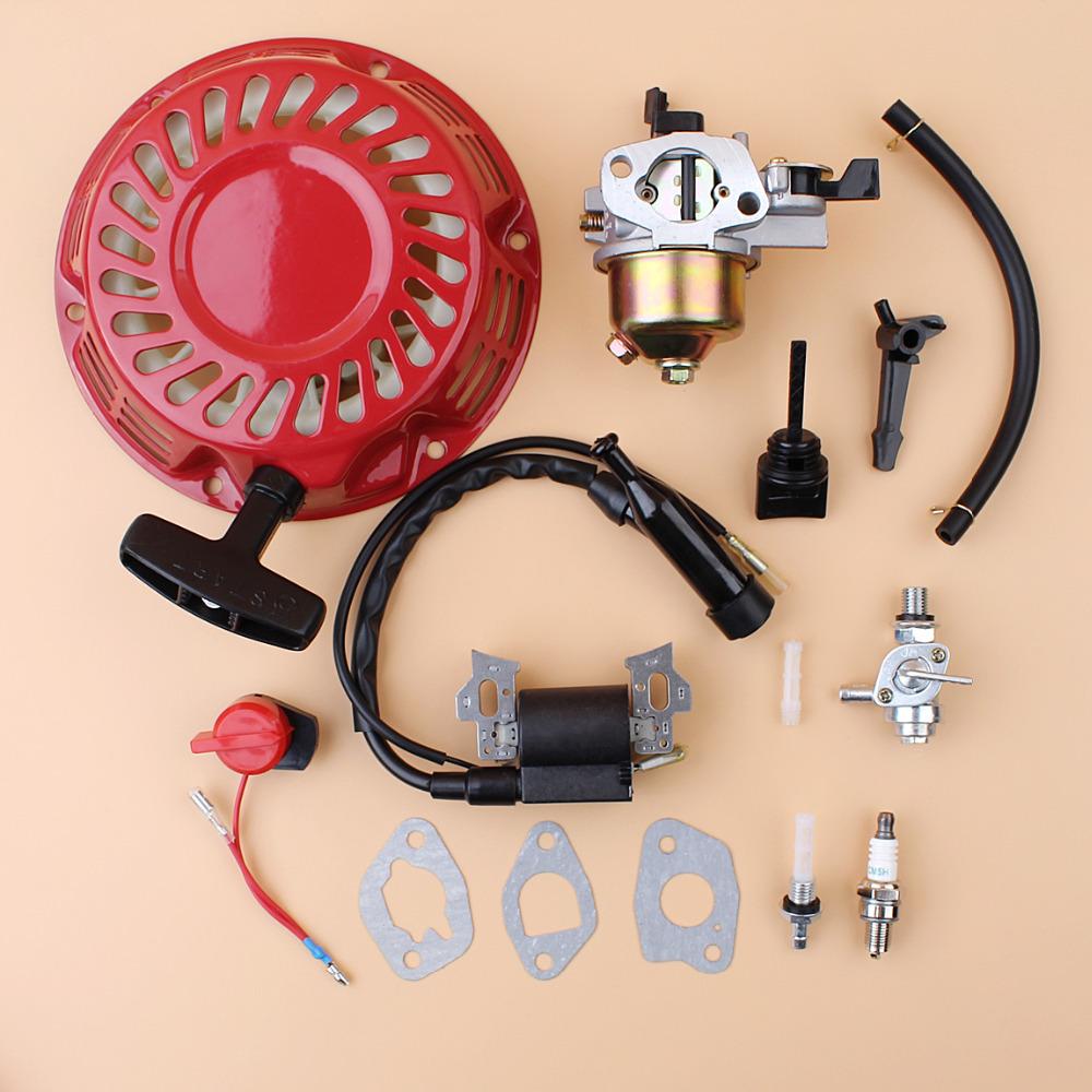 <font><b>Starter</b></font> Ignition Coil Carburetor Fuel Tank Petcock Filter Kit Fit <font><b>HONDA</b></font> GX200 <font><b>GX160</b></font> Chinese 168F 2-3KW Generator Engine Motor image