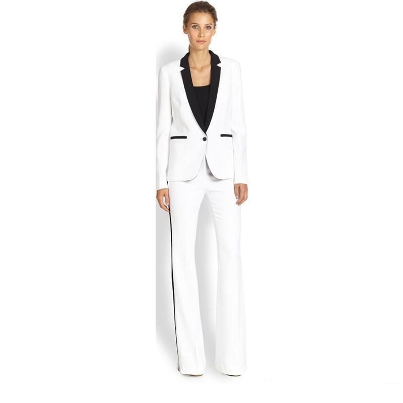 Jacket+Pants Women's Business Suit White Female Office Uniform Ladies Formal Trouser 2 Piece Suit Single Breasted Black Lapel