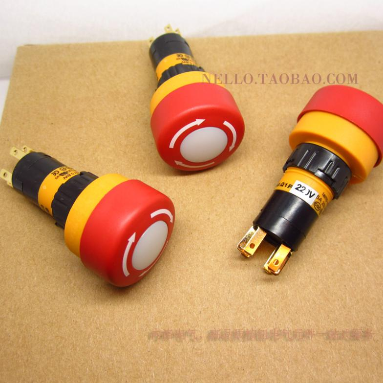 [ SA ]Imports EMA illuminated emergency stop button switch 16mm 01S-CE40.Q/S1P AC110/220V LED 1--10PCS/LOT ac 600v 10a normal close plastic shell red sign emergency stop mushroom knob switch 22mm elevator emergency stop switch