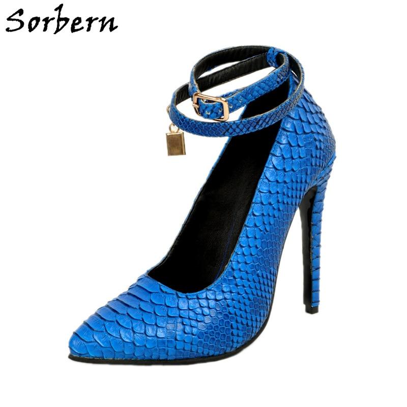 Sorbern Blue Fretwork Fish Scales Plus Size Womens Shoes Heels Stiletto Runway Shoes Ankle Straps Buckles Custom Sexy Pumps denim zipper hollow worn stiletto womens sandals