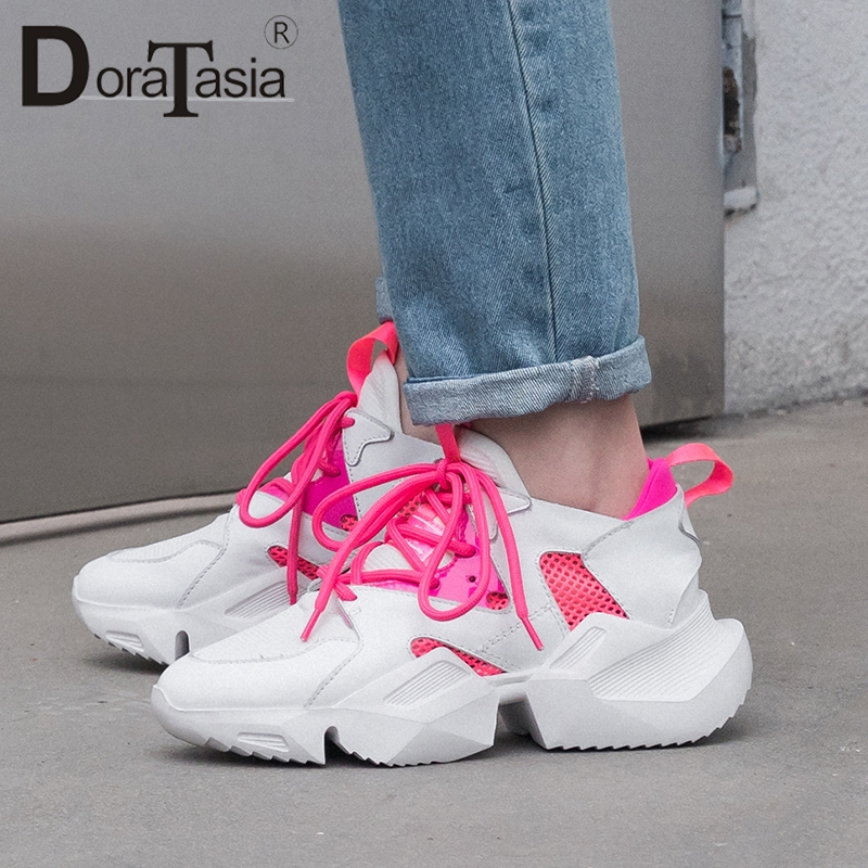 DORATASIA 2019 New INS Hot Summer Mesh Sneakers Women Genuine Leather Large Size 35-42 mixed-color Platform Dad Shoes WomanDORATASIA 2019 New INS Hot Summer Mesh Sneakers Women Genuine Leather Large Size 35-42 mixed-color Platform Dad Shoes Woman