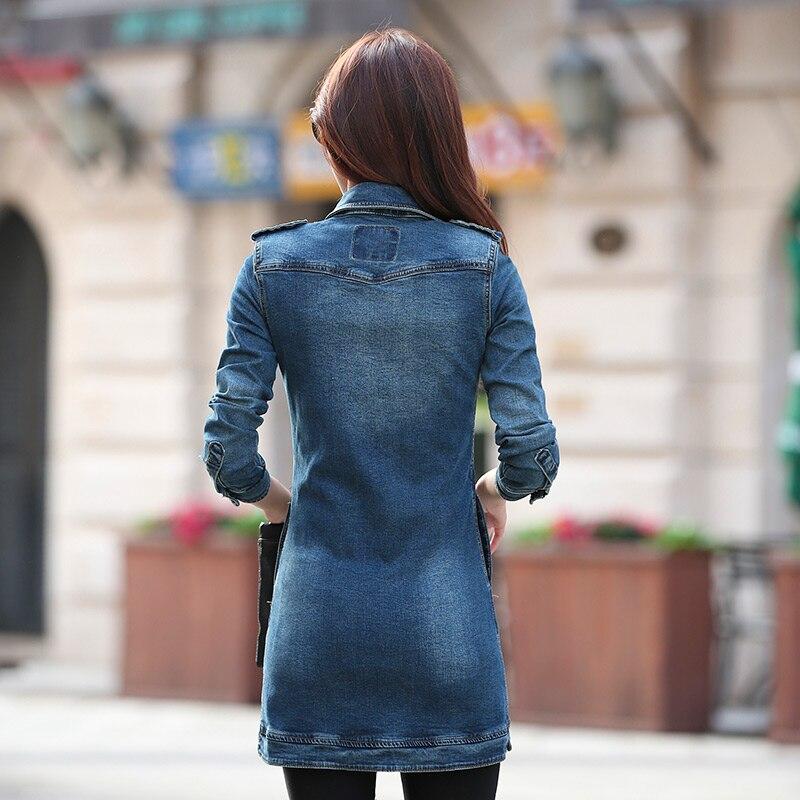 Printemps Plus Taille Manteau Veste Nouvelles Blue Base De Chaqueta La Casual Denim Mode Long Bouton Jean Mujer Slim Femmes Wfy106 Vintage Automne Fit aFaUvR