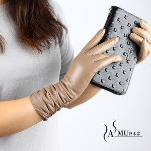 Image 3 - Guantes largos de piel para mujer a la moda, guantes cálidos de terciopelo para otoño, guantes de piel de oveja, nuevos guantes de alta calidad, Envío Gratis