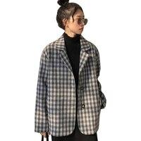 2018 New Harajuku Black White Plaid Jacket Women Long Sleeve Loose Pocket Single breasted Suit Collar Basic Coat Women Jacket