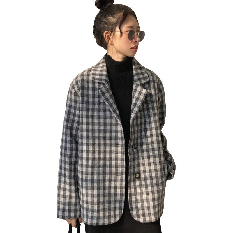 Harajuku Style Black White Plaid Jacket Women 2019 New Spring Womens Coat Long Sleeve Single-breasted Suit Collar Basic Jackets