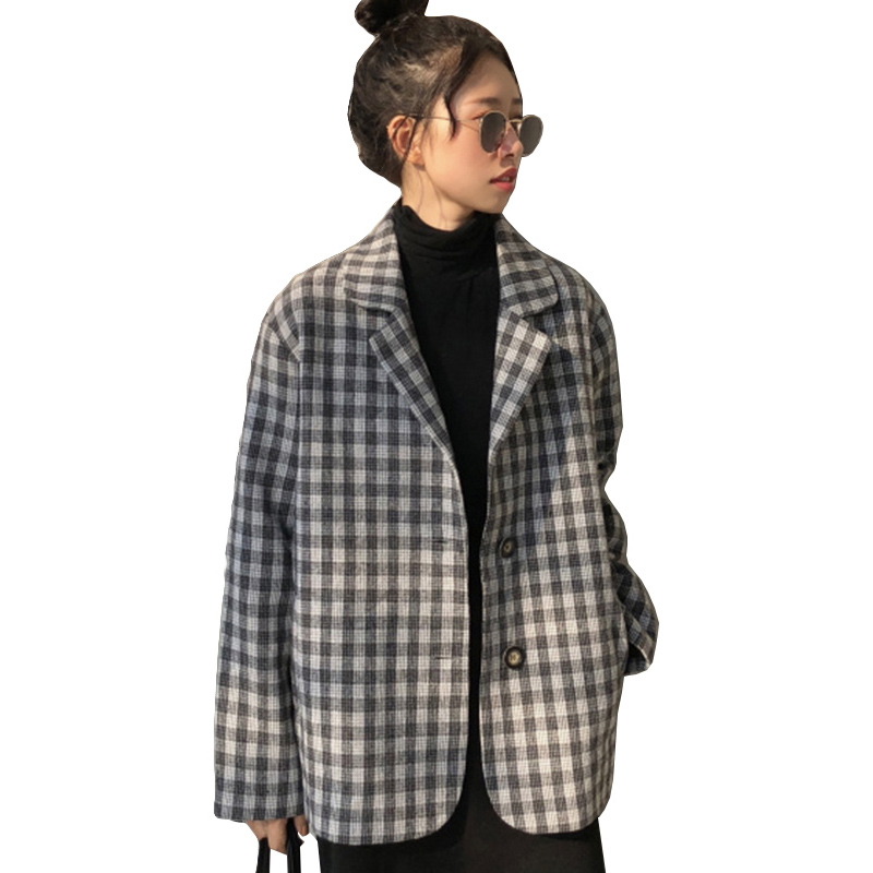 Harajuku Style Black White Plaid   Jacket   Women 2019 New Spring Womens Coat Long Sleeve Single-breasted Suit Collar   Basic     Jackets